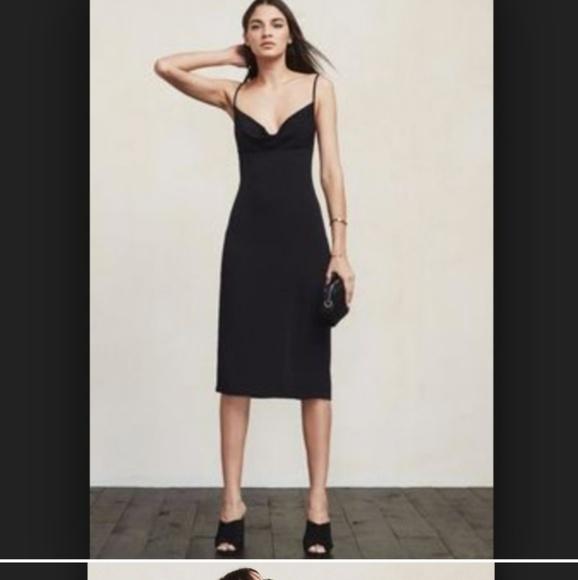 ce49a9b9fc3d5 Reformation Dresses | Black Cowl Neck Midi Dress S | Poshmark